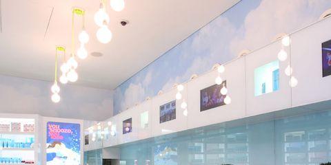 Fluid, Interior design, Ceiling, Turquoise, Aqua, Interior design, Teal, Azure, Swimming pool, Light fixture,