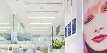 Lip, Interior design, Eyelash, Ceiling, Floor, Eye liner, Houseplant, Tile, Makeover, Eye shadow,