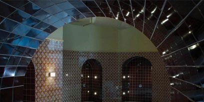 Architecture, Wall, Ceiling, Fixture, Glass, Arch, Tile, Brick, Transparent material, Tile flooring,