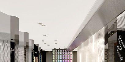 Bench, Wall, Floor, Ceiling, Interior design, Concrete, Composite material, Outdoor bench, Tile, Rectangle,