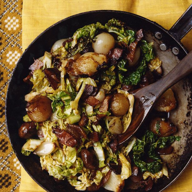 Stir Fried Savoy Cabbage Recipe With Chestnuts Shallots And Bacon