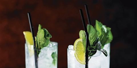 Leaf, Glass, Drink, Alcoholic beverage, Cocktail, Liquid, Cocktail garnish, Drinkware, Rickey, Tableware,