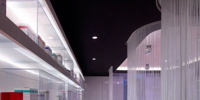 Product, Interior design, Architecture, Glass, Floor, Ceiling, Transparent material, Light fixture, Shelving, Interior design,