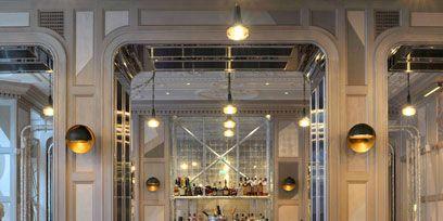 Lighting, Interior design, Room, Floor, Glass, Furniture, Ceiling, Table, Light fixture, Flooring,