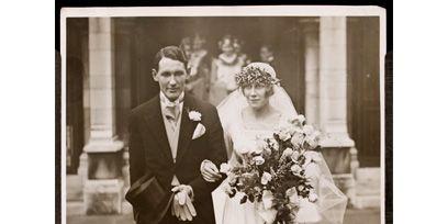 Clothing, Trousers, Dress, Coat, Petal, Bouquet, Standing, Photograph, Bride, Bridal clothing,