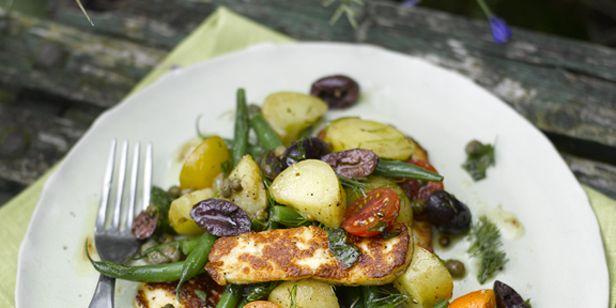 Warm green bean, halloumi and potato salad with olives
