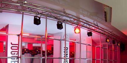 Lighting, Floor, Red, Magenta, Light fixture, Coquelicot, Transparent material, Decoration, Aluminium, Steel,
