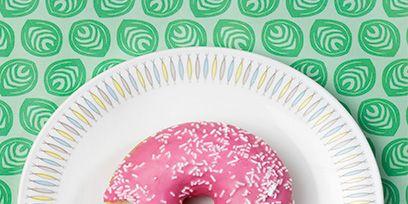 Food, Pattern, Dessert, Doughnut, Pink, Baked goods, Dishware, Cuisine, Recipe, Snack,
