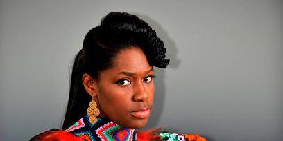 Hairstyle, Style, Musical instrument, Earrings, Electronic instrument, Black hair, Fashion, Eyelash, Keyboard, Model,