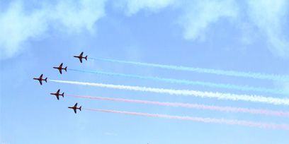 Sky, Airplane, Aircraft, Water, Air show, Aviation, Flight, Fighter aircraft, Pier, Aerospace engineering,