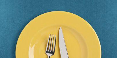 Yellow, Dishware, Cutlery, Tableware, Kitchen utensil, Teal, Aqua, Fork, Linens, Household silver,