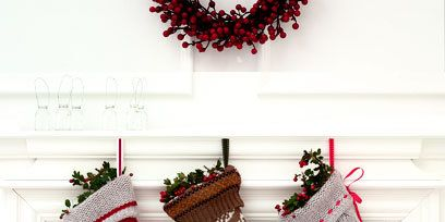 Red, Christmas stocking, Wreath, Boot, Carmine, Christmas decoration, Pattern, Maroon, Still life photography, Coquelicot,