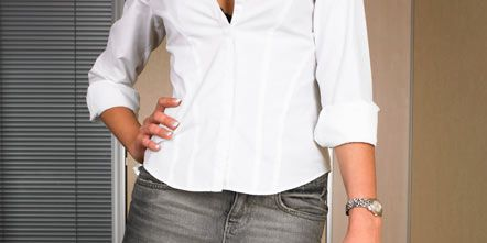 Arm, Product, Sleeve, Collar, Textile, Dress shirt, Office equipment, Denim, Table, Wrist,