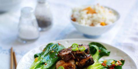 Food, Cuisine, Dishware, Ingredient, Tableware, Dish, Meat, Steamed rice, Recipe, Serveware,