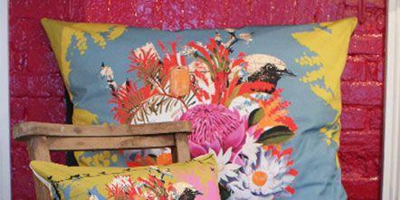 Textile, Flower, Linens, Cushion, Orange, Art, Creative arts, Paint, Floral design, Interior design,