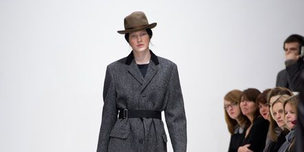 Clothing, Event, Shoulder, Fashion show, Joint, Outerwear, Runway, Fashion model, Hat, Style,