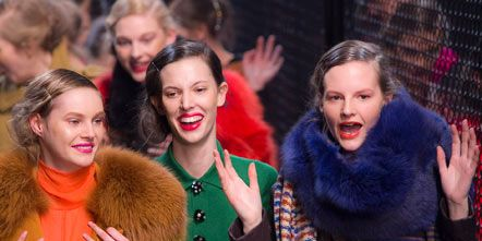 Face, Nose, Smile, Mouth, People, Textile, Facial expression, Fashion, Bag, Fur clothing,