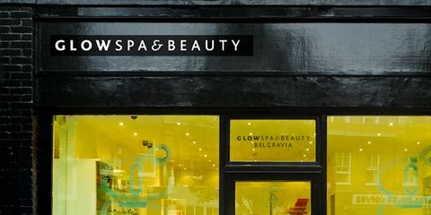 Yellow, Glass, Fixture, Rectangle, Flowerpot, Advertising, Display window, Transparent material,