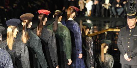 Hat, Headgear, Fashion, Costume accessory, Boot, Fashion design, Collection, Costume design, Overcoat, Knee-high boot,
