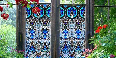 Door, Fixture, Home door, Gate, Iron, Majorelle blue, Shrub, Metal, Garden, Annual plant,