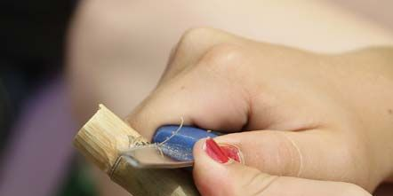 Finger, Skin, Nail, Thumb, Electric blue, Craft, General supply, Wire, Cable,