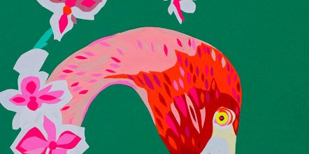 Vertebrate, Bird, Red, Beak, Petal, Pink, Art, Carmine, Magenta, Art paint,