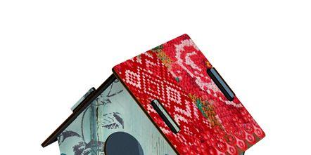 Bird, Birdhouse, House, Beak, Pet supply, Art, Birdhouse, Illustration, Bird supply, Paint,