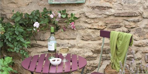 Table, Purple, Lavender, Drink, Outdoor table, Bottle, Drinkware, Violet, Outdoor furniture, Groundcover,