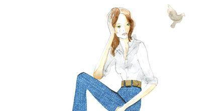 Denim, Textile, Sitting, Knee, Electric blue, Bag, Long hair, Pocket, Bird, Graphics,