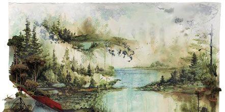 Bank, Art, Watercourse, Wetland, Artwork, Paint, Fluvial landforms of streams, Watercolor paint, Painting, Art paint,