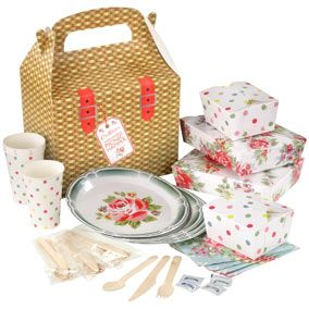 The set contains paper plates cups and napkins wooden cutlery salt and pepper sachets and laminated storage boxes in a mix of their pretty English Rose ...  sc 1 st  Red Online & Flatpack your picnic with Cath Kidston