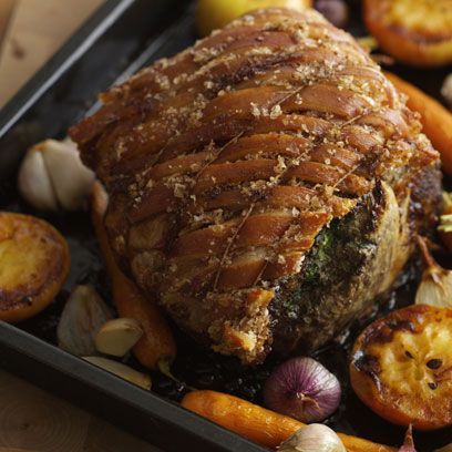 roasted rolled shoulder of pork with mustard and cider gravy recipe