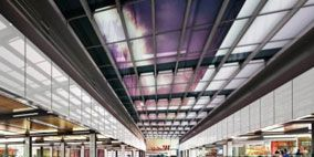Ceiling, Commercial building, Fixture, Service, Shopping mall, Symmetry, Daylighting, Retail, Beam, Steel,