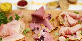 Food, Cuisine, Animal product, Meat, Ingredient, Dish, Cold cut, Dishware, Citrus, Meal,