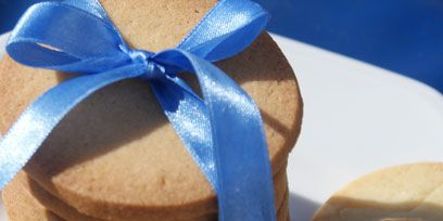 Blue, Ribbon, Cuisine, Electric blue, Tan, Present, Knot, Peach, Snack, Confectionery,