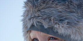 Nose, Lip, Skin, Textile, Winter, Fur clothing, Headgear, Costume accessory, Fashion, Natural material,