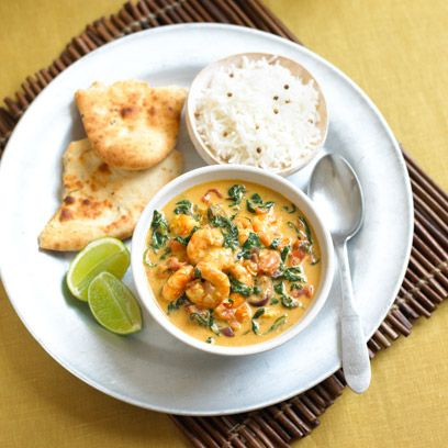 Spinach And Coconut Prawn Curry
