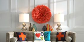 Blue, Room, Interior design, Floor, Furniture, Orange, Living room, Wall, Flooring, Table,