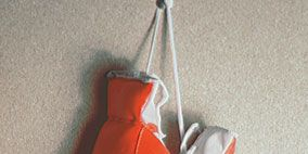 Product, Boxing glove, Red, Glove, Orange, Carmine, Boxing equipment, Grey, Still life photography, Safety glove,