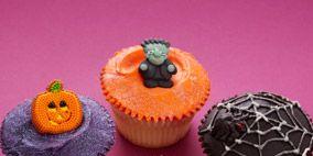 Cupcake, Food, Sweetness, Dessert, Baked goods, Purple, Orange, Baking cup, Cake, Recipe,