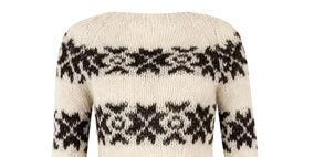 Product, Brown, Sleeve, Pattern, Textile, Sweater, White, Style, Wool, Woolen,