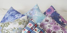 Blue, Textile, Pattern, Purple, Linens, Pink, Cushion, Throw pillow, Violet, Orange,