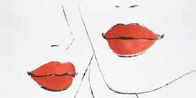Lip, Cheek, Red, White, Orange, Style, Art, Carmine, Artwork, Painting,
