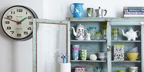 Blue, Serveware, Dishware, Porcelain, Room, Shelving, Teal, Turquoise, Aqua, Wall,