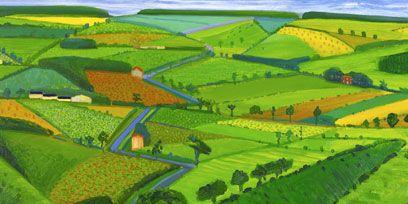 Green, Farm, Natural landscape, Landscape, Field, Plain, Agriculture, Rural area, Art, Plantation,