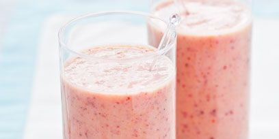 Health shake, Drink, Food, Ingredient, Pink, Tableware, Juice, Peach, Liquid, Fruit,