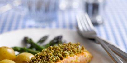 Dish, Cuisine, Food, Ingredient, Salmon, Broccoli, Garnish, Produce, Fish, Recipe,