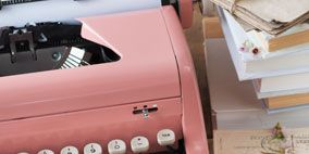 Typewriter, Product, Office equipment, Photograph, Electronic device, Red, Technology, Line, Pink, Machine,