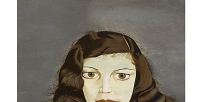 Cheek, Eyebrow, Style, Collar, Art, Self-portrait, Black hair, Portrait, Artwork, Painting,