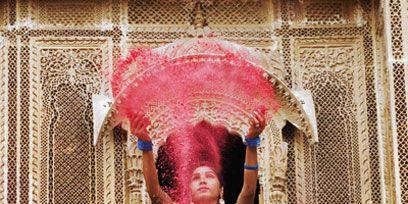 Pink, Magenta, Temple, Art, Visual arts, Lipstick, Hair coloring,